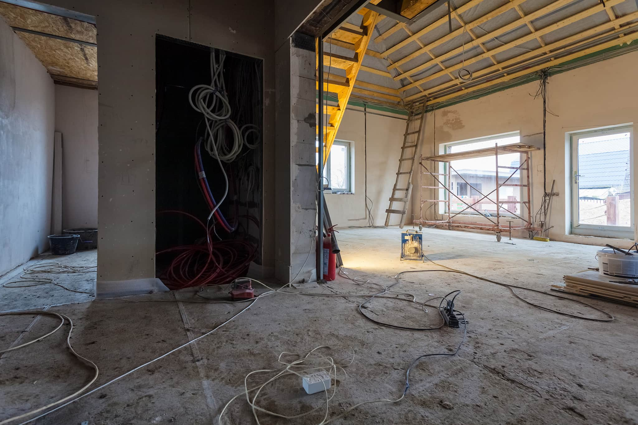 Construction of the interior of a building